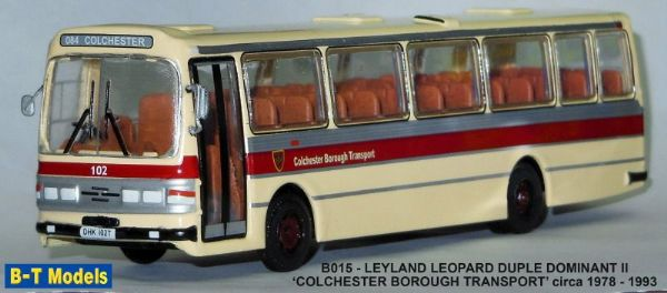 B T Models B015 1/76 Duple Dominant II  Leyland Leopard  Coach Colchester Borough Transport